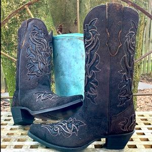 CORRAL NEW! Sequin Inlay Black Western Boots 7.5